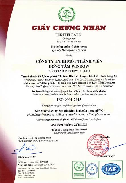 Chung chi ISO 9001-Dong Tam Window